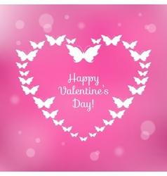 Heart of butterflies valentines card vector