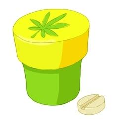 Jar and pills of marijuana icon cartoon style vector image vector image