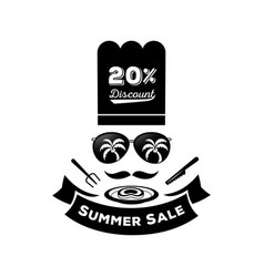 summer sale discount with sunglassescook hat and vector image