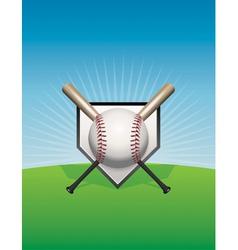 Baseball Background Ball and Bats vector image vector image