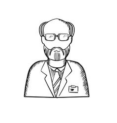 Bearded scientist in lab coat sketch vector image vector image