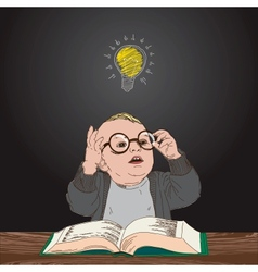 Great idea kid with book and bulb above his head vector image vector image
