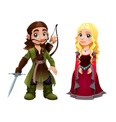 Medieval Couple Knight and Princess vector image vector image