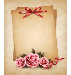 Retro background with beautiful pink rose and old vector image vector image