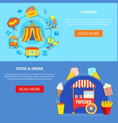 amusement park 2 flat interactive banners vector image