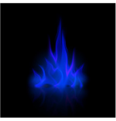 blue fire flame bonfire isolated on background vector image