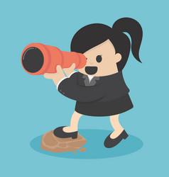 Business women seeking with binocular vector