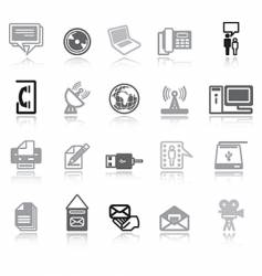 communication icons grey vector image