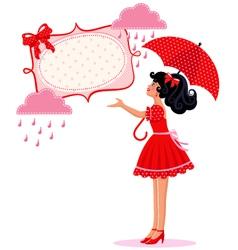 girl in the rain vector image vector image
