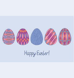 happy easter egg sketch collection in pink purple vector image vector image