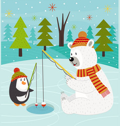Polar bear and penguin on fishing vector