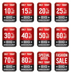 Sale Banner with Red and Grey Many discount price vector image vector image