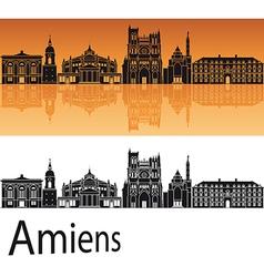 Amiens skyline in orange background vector image vector image