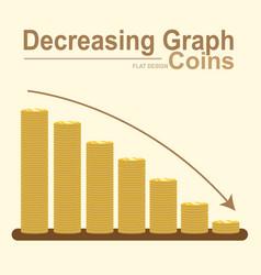 decreasing graph of golden coin stack gold money vector image