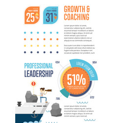 growth and coaching banner with pie chart vector image