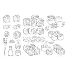 set of sushi rolls wasabi soy sauce ginger vector image