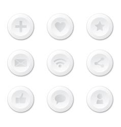 Set of white round internet icons vector image