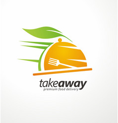take away food logo design idea vector image vector image