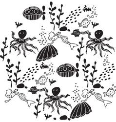 Underwater sealife animal round black and white vector image