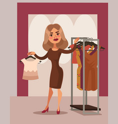 woman character can not choose dress vector image vector image