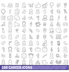 100 career icons set outline style vector image