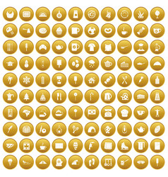 100 coffee icons set gold vector