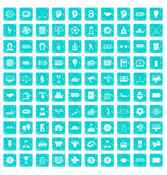 100 totalizator icons set grunge blue vector image