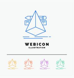 3d design designer sketch tools 5 color line web vector image