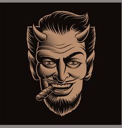 A devil face smoking cigar vector