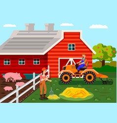 Agriculture farm workers cartoon vector