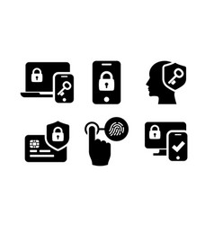 Authentication icons set 02 in black and white vector