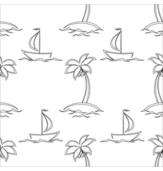 background islands and ships contours vector image