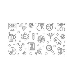 Banner made with outline genetics icons vector