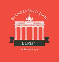 banner with brandenburg gate in berlin vector image