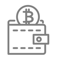 bitcoin wallet line icon wallet with coin vector image
