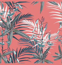 blue lilies flowers and green exotic plants vector image