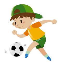Boy kicking soccer ball alone vector