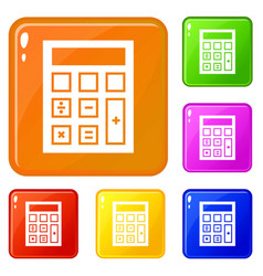 calculator lab beaker icons set color vector image