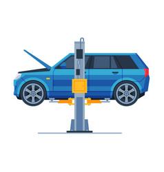 Car lifted on auto hoist car repair service flat vector