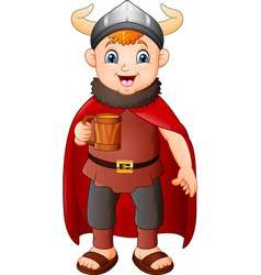 cartoon boy in viking costume holding a beer mug vector image