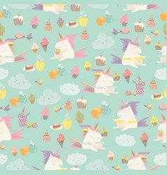 Cartoon seamless pattern unicorn with cake vector