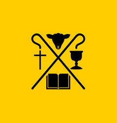 Christian symbols bible cross jesus vector