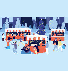christmas market smiling people with gift boxes vector image