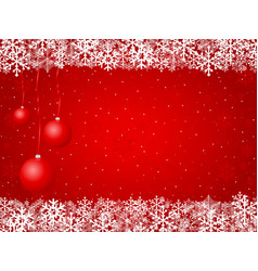 christnas background snowflakes and balls red vector image