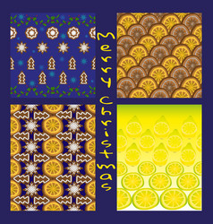 collection of seamless christmas patterns vector image