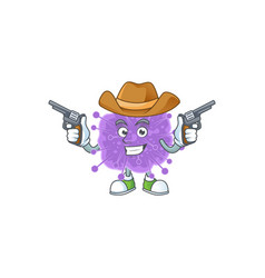 cool cowboy coronavirus influenza holding guns vector image