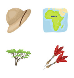 Cork hat darts savannah tree territory map vector