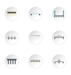 Crossing river icons set flat style vector