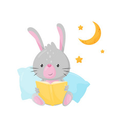 cute little bunny reading a book at bedtime vector image