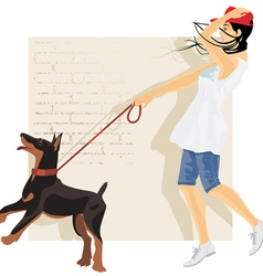 Dog and girl vector